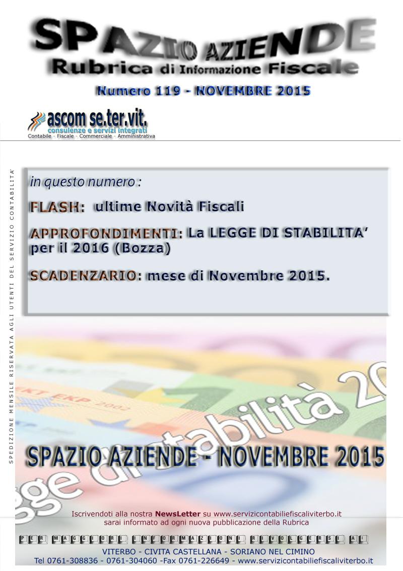 SPAZIO AZIENDE N.119 NOVEMBRE 2015 - LA LEGGE DI STABILITA' 2016