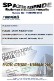 SPAZIO AZIENDE – n. 122 Febbraio 2016 » LA CERTIFICAZIONE UNICA 2016