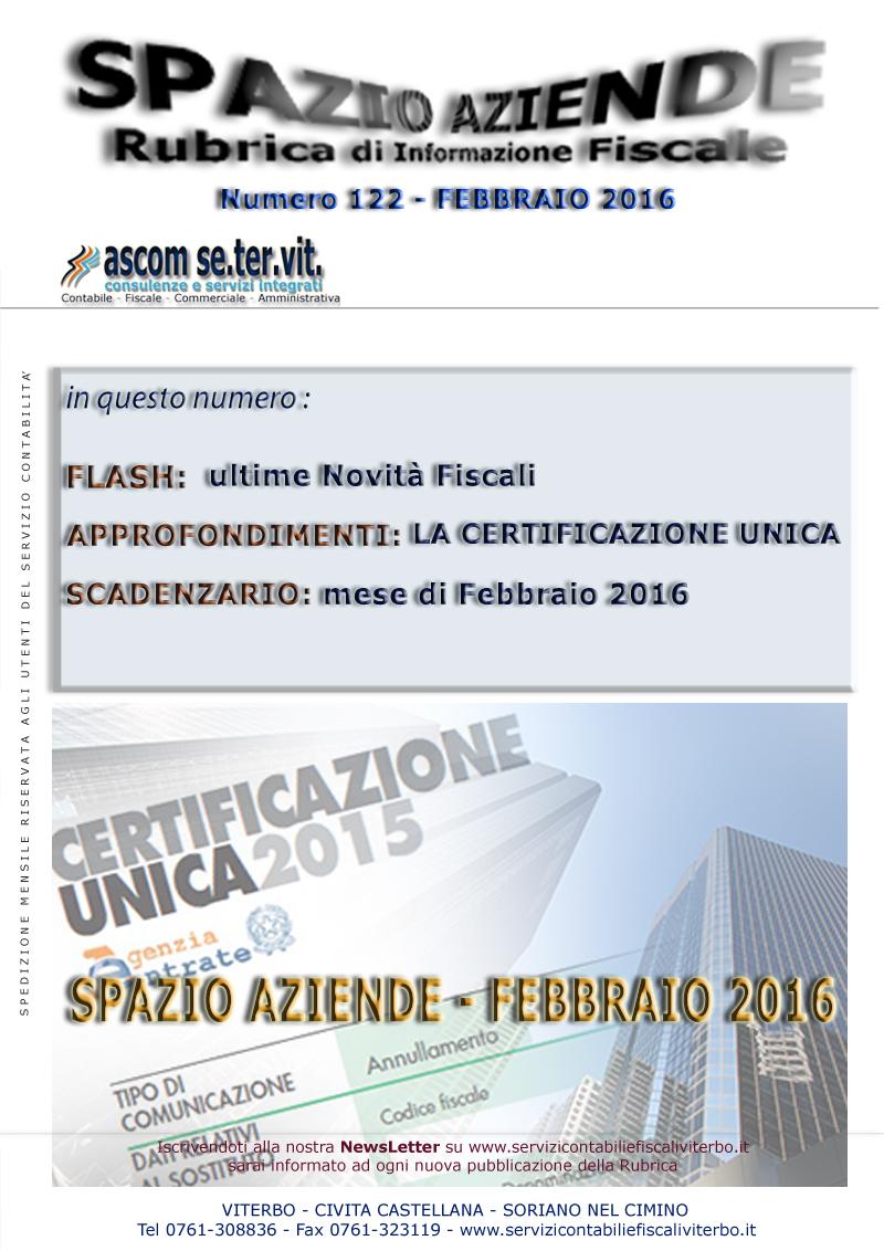 SPAZIO AZIENDE 122 FEBBRAIO 2016 - LA CERTIFICAZIONE UNICA