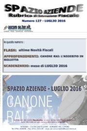 SPAZIO AZIENDE – n. 127 Luglio 2016 » CANONE RAI: L'ADDEBITO IN BOLLETTA
