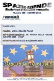 SPAZIO AZIENDE – n. 128 Agosto 2016 » LE NOVITA' DELLA LEGGE EUROPEA 2015-2016
