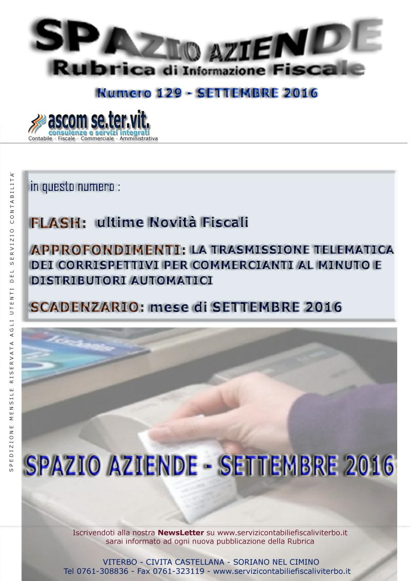 SPAZIO AZIENDE N. 129 - SETTEMBRE 2016