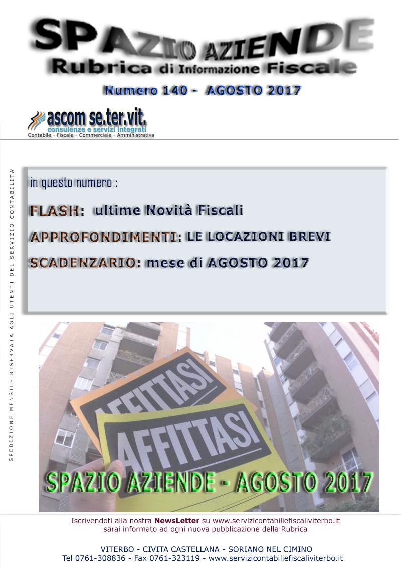 Spazio aziende n 140 agosto 2017 le locazioni brevi for Scadenzario fiscale 2017